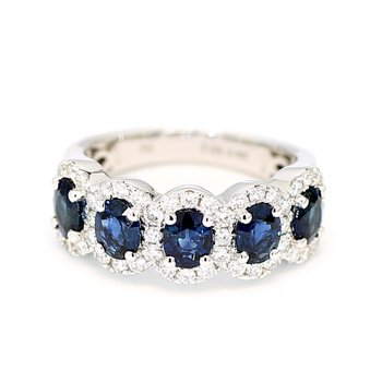 2.48 Carat 5 Stone Blue Sapphire And .64 Carat Diamond Halo 18 Karat White Gold Ring
