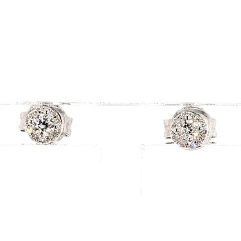 14KW Petite Diamond Halo Earrings