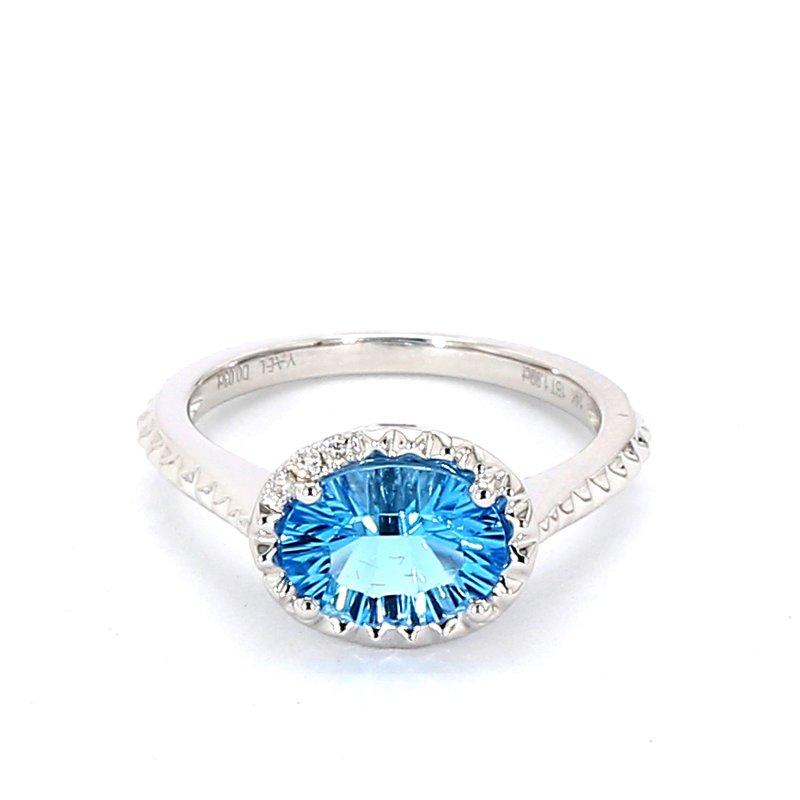 2.01 Carat Blue Topaz And Diamond Drop Pendant