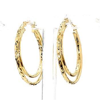 14KY Gold Textured Hoop Earrings