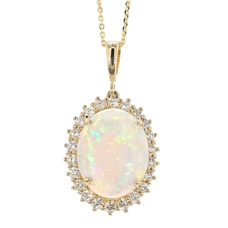 3ct Opal & Diamond Halo Pendant