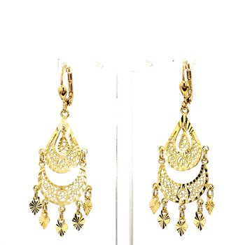 14KT Yellow Gold Chandelier Drop Earrings