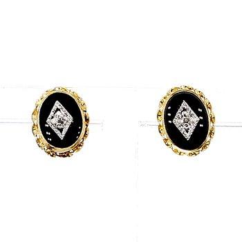 .02CT Diamond Black Onyx Stud Earrings
