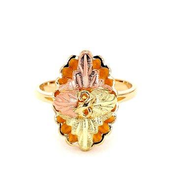 10 Karat Gold Three Tone Floral Design Ring