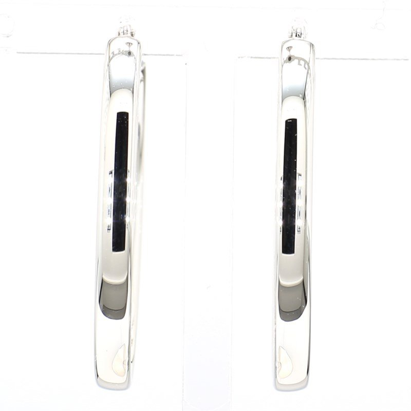 Sterling Silver Polished Large Oval Hoop Earrings