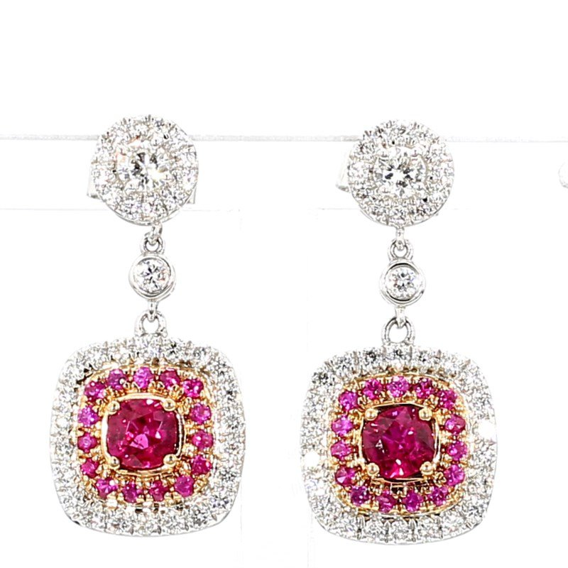 2.49ct Ruby And Diamond Earrings