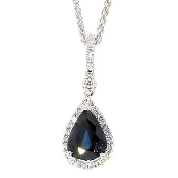 1.67 Carat Blue Sapphire And Diamond Halo Pendant