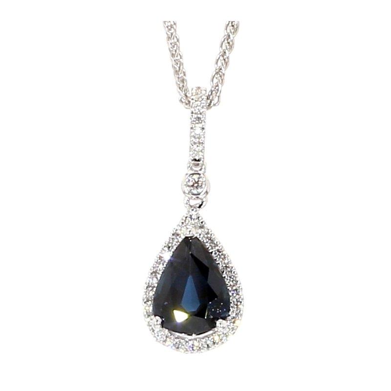 1.67 Carat Blue Sapphire And Diamond Halo Pendant