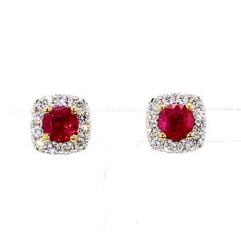 1 3/4ct Ruby & Diamond Halo Earrings