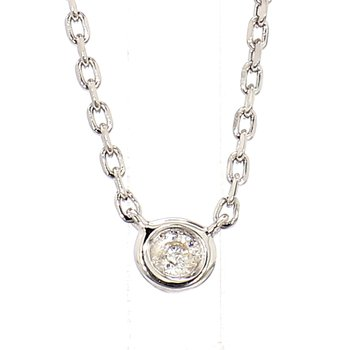 .05 ct Diamond Sterling Silver Bezel Necklace 18""