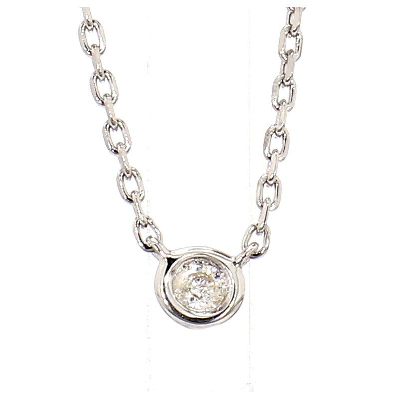 """.05 ct Diamond Sterling Silver Bezel Necklace 18"""""""