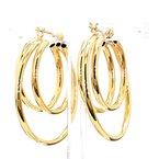 14KY Gold Multi Row Hoop Earrings