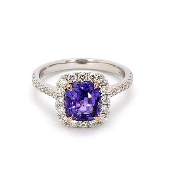 Cushion Cut Purple Sapphire Ring