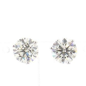 3 Carat Round Brilliant Diamond Stud Earrings.