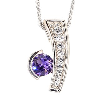 1.0 Carat Round Amethyst With White Sapphire Accents In Sterling Silver