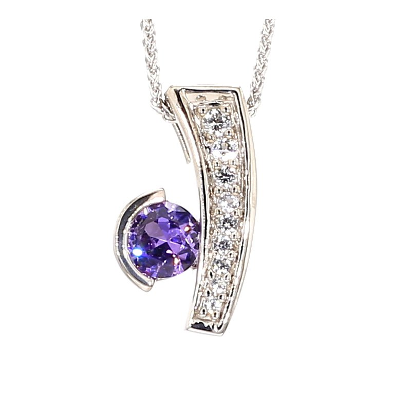 Silver Amethyst & White Sapphire Necklace