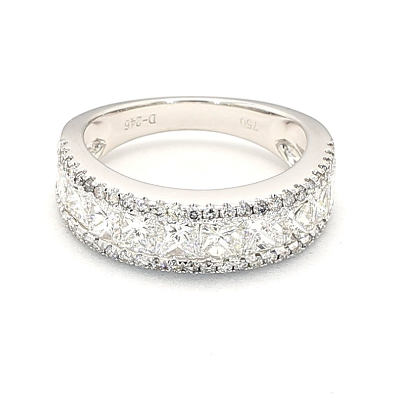 2.46 Carat Diamond Ring With 10 Princess Cut Diamonds Crafted In A 18 Karat White Gold Ring