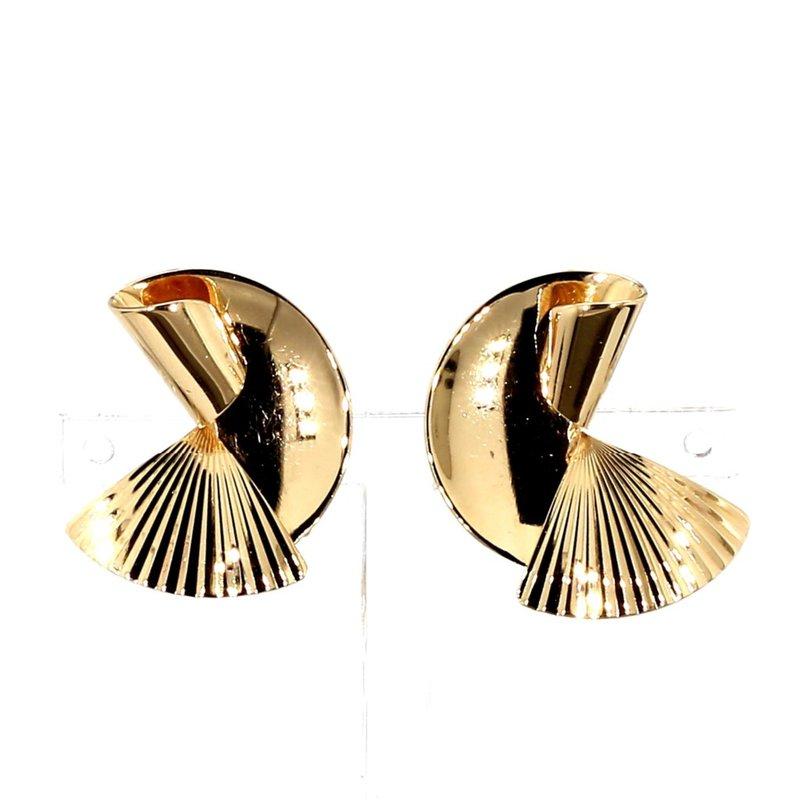 14KT Yellow Gold Clip On Fan Style Earrings