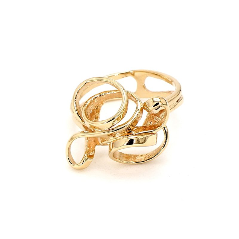 14KT Yellow Gold Twisted Top Design Ring