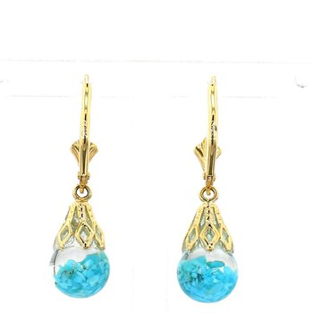 14 Karat Yellow Gold With Floating Turquoise Earrings