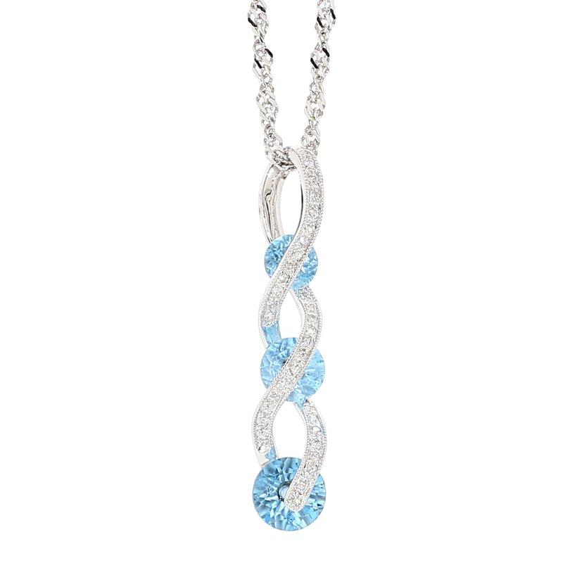 """Infinity Twist 18"""" Topaz & Diamond Necklace"""