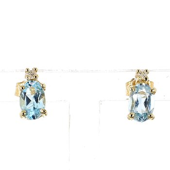 1/2ct Blue Topaz & Diamond Estate Stud Earrings
