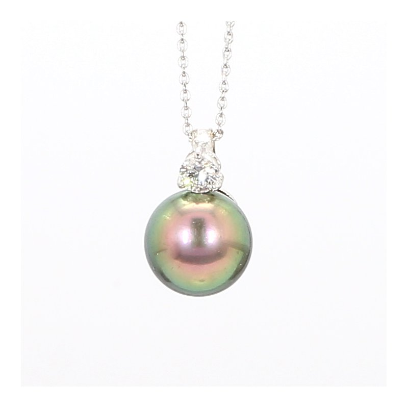8mm Grey Tahitian Pearl & Diamond Pendant