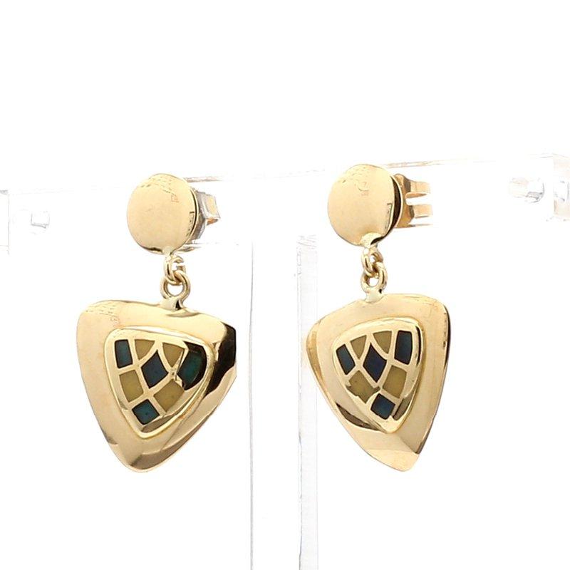 14 Karat Yellow Gold Triangle Drop Vintage Earrings
