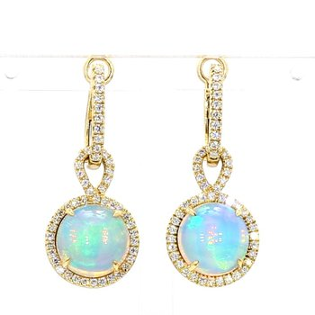 5.56ct Opal And Diamond Earrings