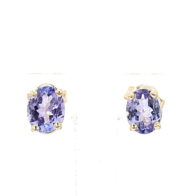 Oval Tanzanite Stud Earrings 14Kt
