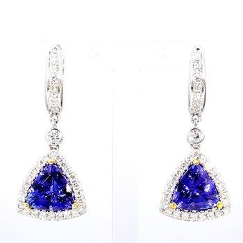 Tranzanite And Diamond Earrings