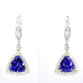 Tranzanite And Diamond Earrings