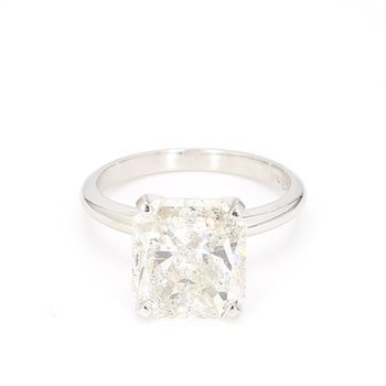 5.45 Carat Radiant Cut Diamond Solitaire Engagement Ring