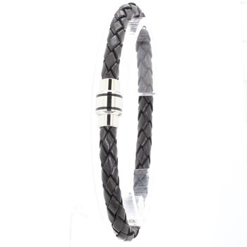 Stainless Steel Polished Black Woven Leather Bracelet