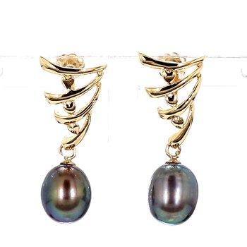 Black Pearl 9mm x 8mm Drop Earrings