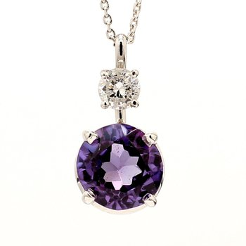 Alexandrite & Diamond Necklace 18""