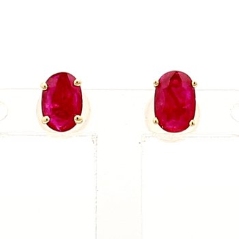 Treated Ruby Oval Earrings