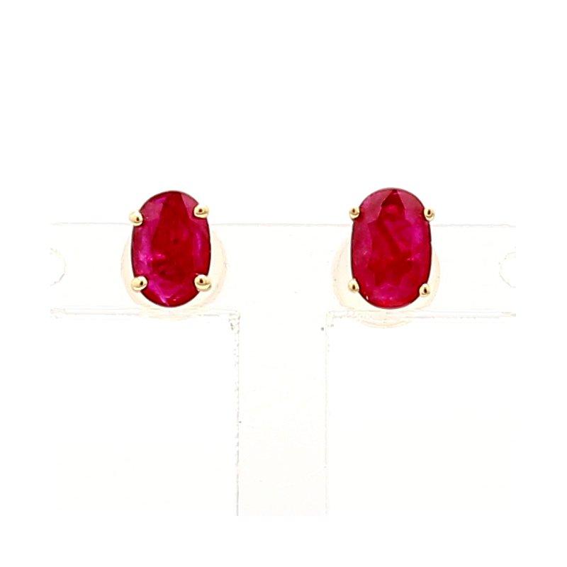 Treated Ruby Oval Earrings