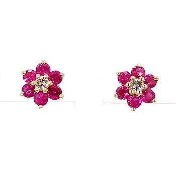 1.15ct Ruby & Diamond Stud Earrings