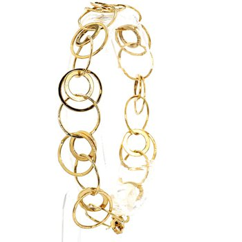 """14KY Fancy Circle Link Bracelet 8"""""""