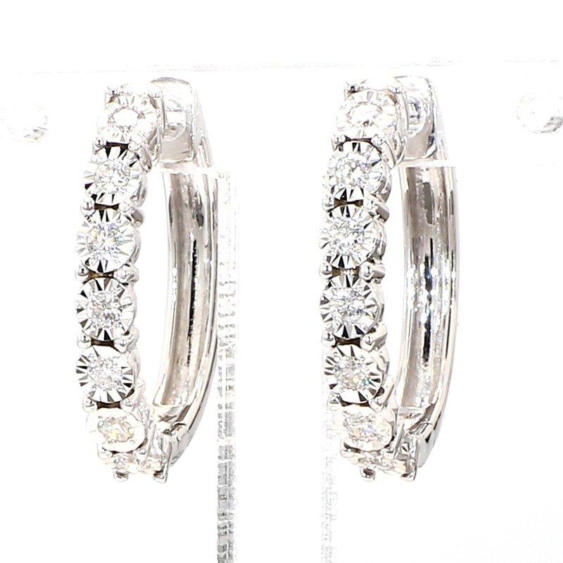 1/4ct Oval Diamond Hoop Earrings