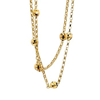 """14KY Gold Beaded Station Box Chain Necklace 15.5"""""""