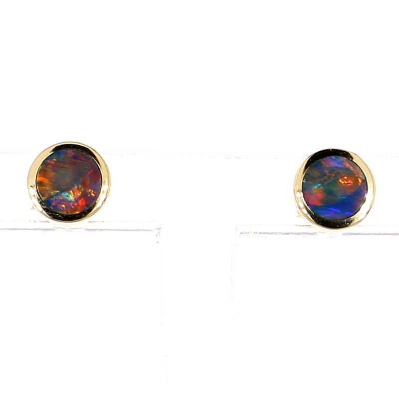 1/3ct Boulder Opal Bezel Stud Earrings