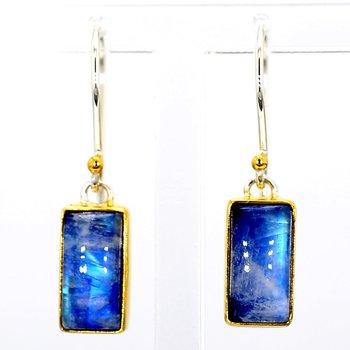 SS & 22KT Gold Vermeil Moonstone Earrings
