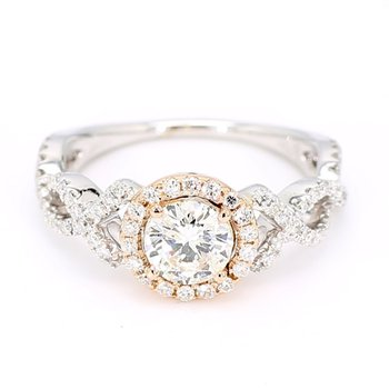 1.25 Carat Two Tone Diamond Halo Engagement Ring