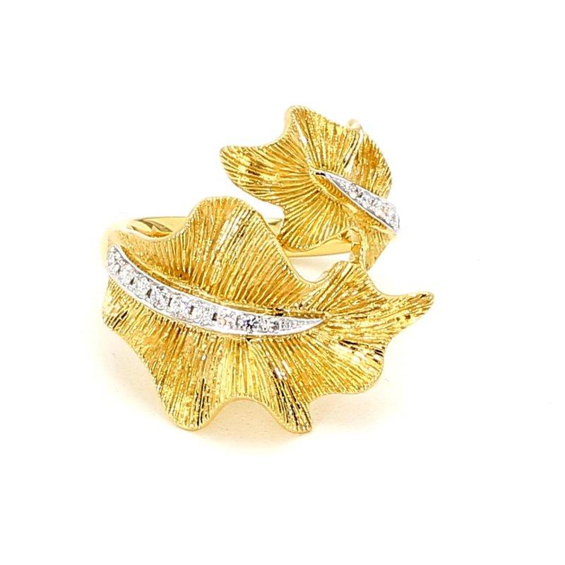 1/5ct Diamond Leaf Design Ring