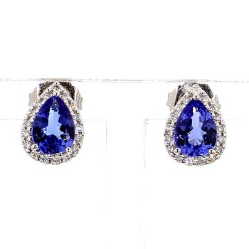Tanzanite & Diamond Halo Earrings