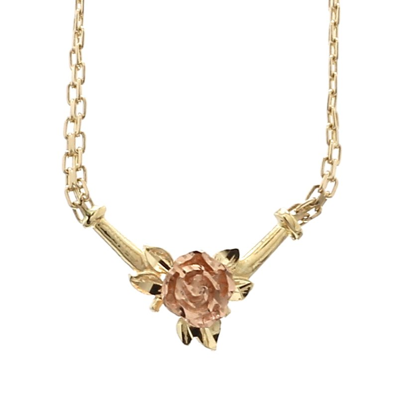 """Estate 14 Karat Yellow & Rose Gold 16"""" Rose Design Choker Necklace"""