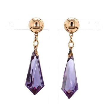 15ct Synthetic Alexandrite briolette Drop Estate Earrings