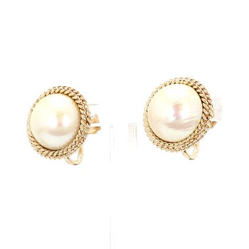Estate Button Pearl Earrings Non Pierced With Screw Backs